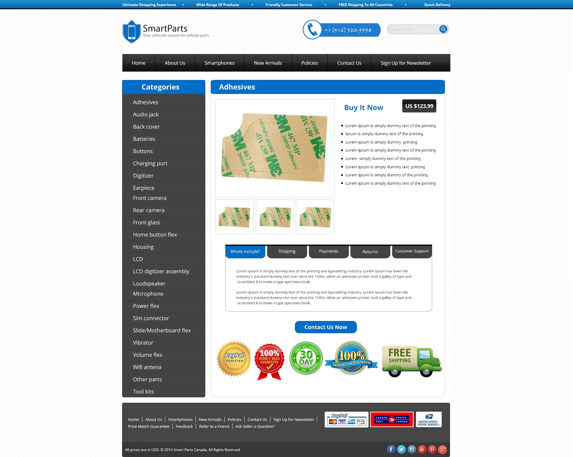eBay Shop & Listing Template for Smart Phone Parts Supplier -