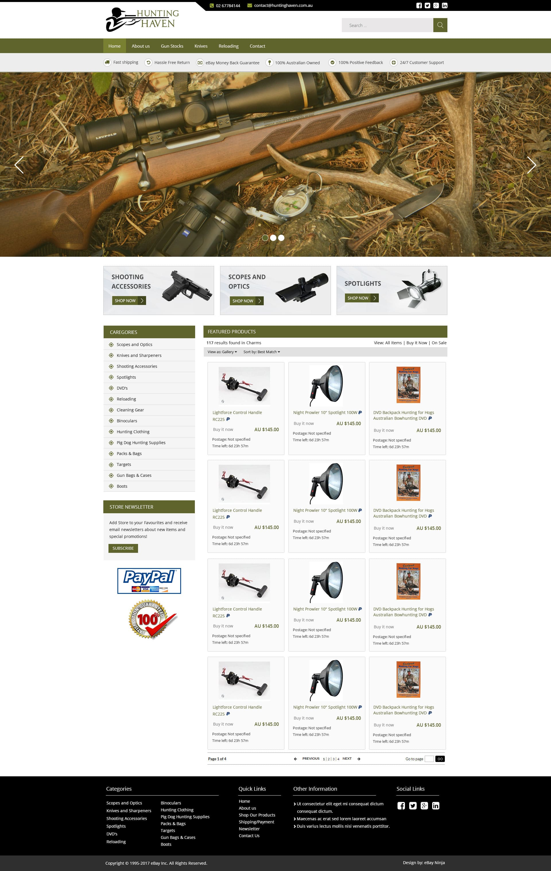 HuntingHeaven.com.au  – Custom eBay Storefront Design and eBay Listing Template  Integration with Neto