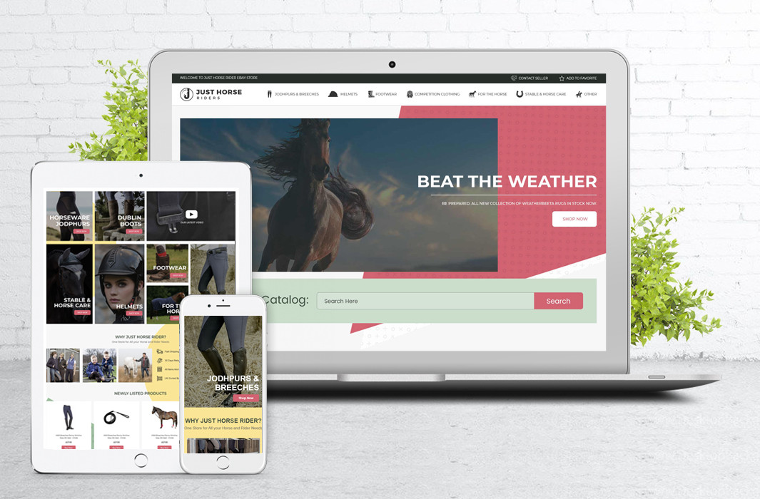 JustHorseRiders- Premium eBay Shop & Product Listing Template Design with M2E PRO Integration