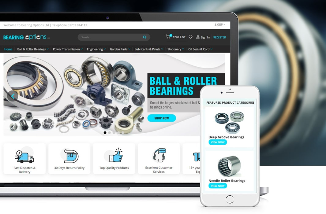 Bearing Options – Magento 2 Website Design & Development With Product Migration